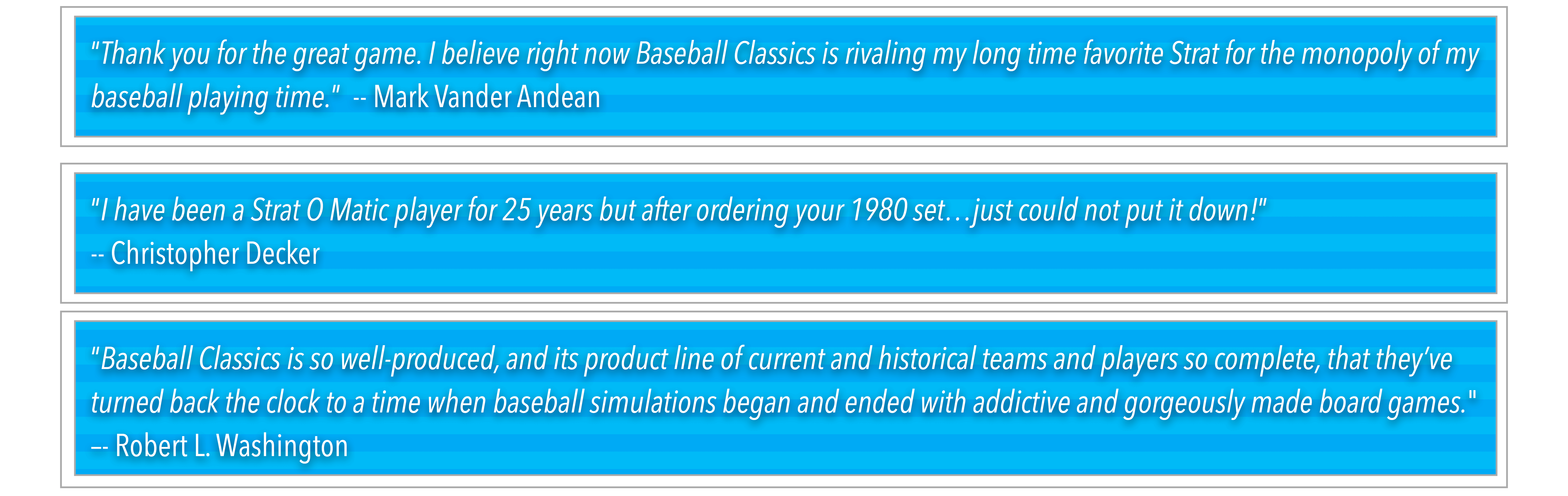 Dollar Baseball Club Baseball Classics Testimonials
